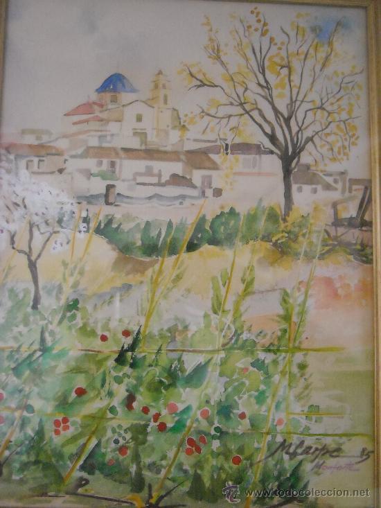Arte: cuadro de acuarela, paisaje con Catedral de Monforte del Cid, Alicante, firma, M. Carpe 85 - Foto 4 - 27258644