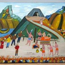 Art: CAPTURA DE ATAHUALPA POR LOS ESPAÑOLES LUIS MILLINGALLI ACRÍLICO SOBRE PIEL 1986 ECUADOR. Lote 15042415