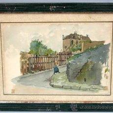 Arte: ACUARELA FRANCESA PAISAJE PUEBLO FIRMADA MILLET. Lote 15449873
