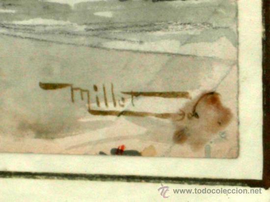 Arte: Acuarela francesa paisaje pueblo firmada Millet - Foto 4 - 15449904