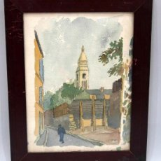 Arte: ACUARELA FRANCESA PAISAJE PUEBLO FIRMADA LEPRIN. Lote 15450199