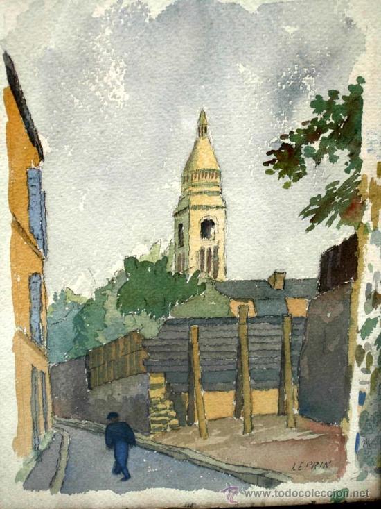 Arte: Acuarela francesa paisaje pueblo firmada Leprin - Foto 2 - 15450199