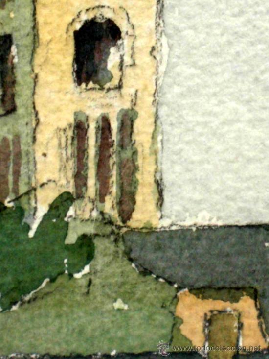 Arte: Acuarela francesa paisaje pueblo firmada Leprin - Foto 3 - 15450199