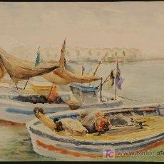 Arte: MARINA. ACUARELA FIRMADA M. FONT I VILA. AÑOS 1970. Lote 15788994