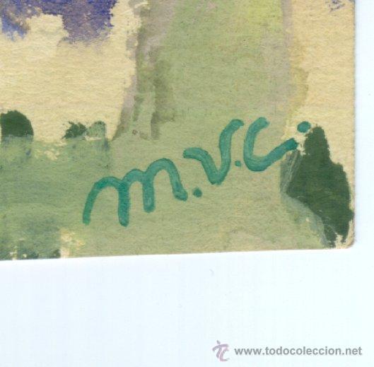 Arte: AA230-Acuarela firmada con las iniciales M.V.C. - Foto 2 - 26494378