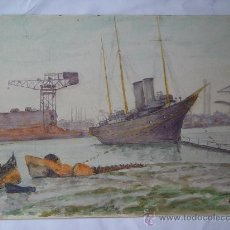 Arte: 'PUERTO' L.H. WINN. ACUARELA INGLESA DEL SIGLO XIX-XX.. Lote 108920548