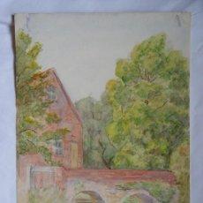 Arte: 'PAISAJE Y PUENTE' L.H.WINN. ACUARELA INGLESA DEL SIGLO XIX-XX.. Lote 26957030