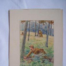 Arte: 'CAZADORES' ACUARELA INGLESA XIX-XX.. Lote 26957032