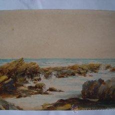 Arte: 'ESCENA DE COSTA' ACUARELA INGLESA DEL SIGLO XIX.. Lote 26957029