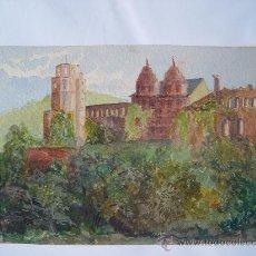 Arte: 'PAISAJE CON CASTILLO' ACUARELA INGLESA DEL SIGLO XIX-XX. Lote 26957031