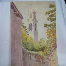Arte: 'CALLE DE PUEBLO Y TORRE' ACUARELA DE LA ESCUELA INGLESA DEL SIGLO XIX-XX.. Lote 27114372