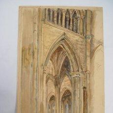 Arte: 'INTERIOR CATEDRAL' ACUARELA DE LA ESCUELA INGLESA DEL SIGLO XIX-XX.. Lote 27089857