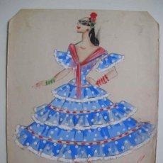Arte: DISEÑO ORIGINAL VESTIDO DE ANDALUZA AZUL - ACUARELA. FIRMA COVE / CHENY. Lote 17002173