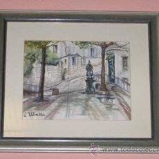 Arte: PLAZA CON FUENTE. ACUARELA. FIRMADA L. UTRILLA. ENMARCADA.. Lote 25897625