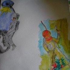 Arte: DIBUJO SOBRE PAPEL ACUARELA MADELMAN. Lote 27448574
