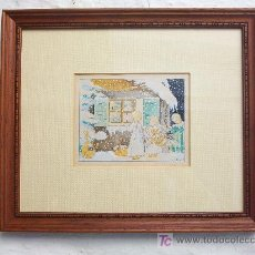 Arte: ACUARELA ORIGINAL PARA POSTAL DE NAVIDAD (1941) ENMARCADA. Lote 23783591