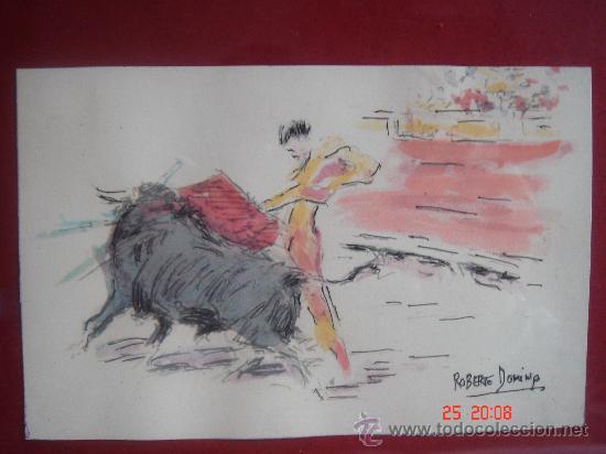 ACUARELA S/PAPEL ENMARCADO, DE ROBERTO DOMINGO Y FALLOLA. DIMENSIONES.- 35,5X25,5 CMS CON MARCO. (Arte - Acuarelas - Contemporáneas siglo XX)