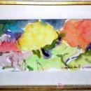 Arte: LEOPOLDO FDZ. VARELA. PINTOR GALLEGO. ACUARELA, FIRMADA Y DEDICADA EN NAVIDAD. MED:10X19.ENVIO GRAT. Lote 26693172
