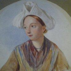 Arte: MAGISTRAL RETRATO EN ACUARELA DE UNA BELLA JOVEN CRIADA, SIGLO XIX, CIRCA 1880.. Lote 18693512