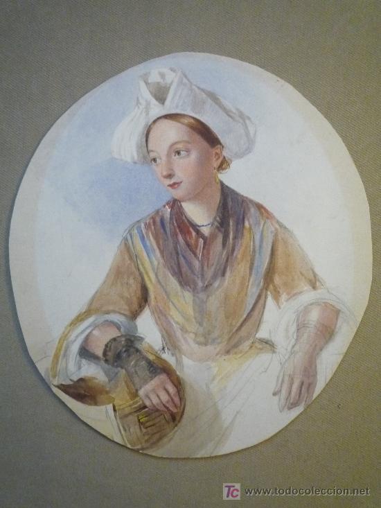 Arte: Magistral retrato en acuarela de una bella joven criada, siglo XIX, circa 1880. - Foto 6 - 18693512