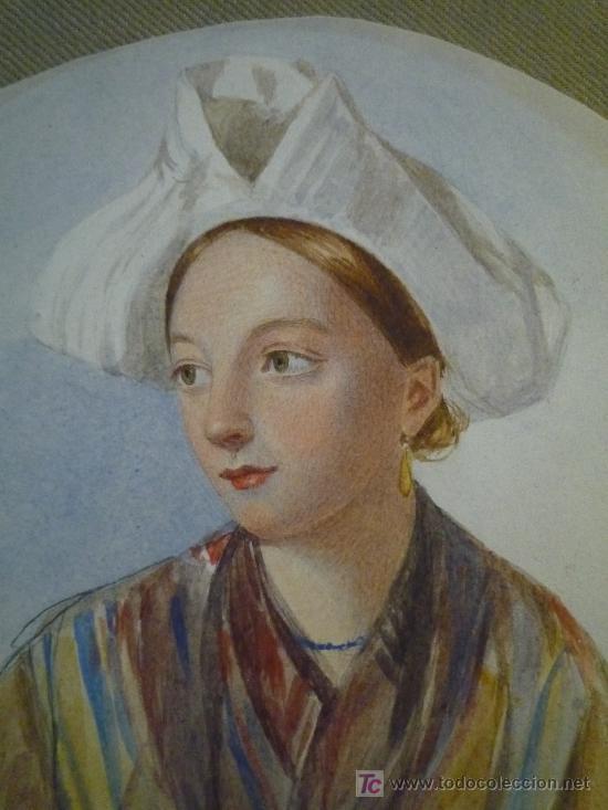 Arte: Magistral retrato en acuarela de una bella joven criada, siglo XIX, circa 1880. - Foto 2 - 18693512