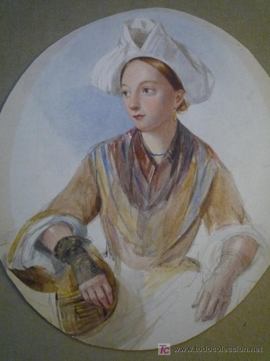 Arte: Magistral retrato en acuarela de una bella joven criada, siglo XIX, circa 1880. - Foto 3 - 18693512