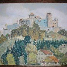 Arte: BELLA ACUARELA Y PASTEL - PAISAJE - FIRMADO POR H. KROCZEKY DATADO EN 1944. Lote 26599298