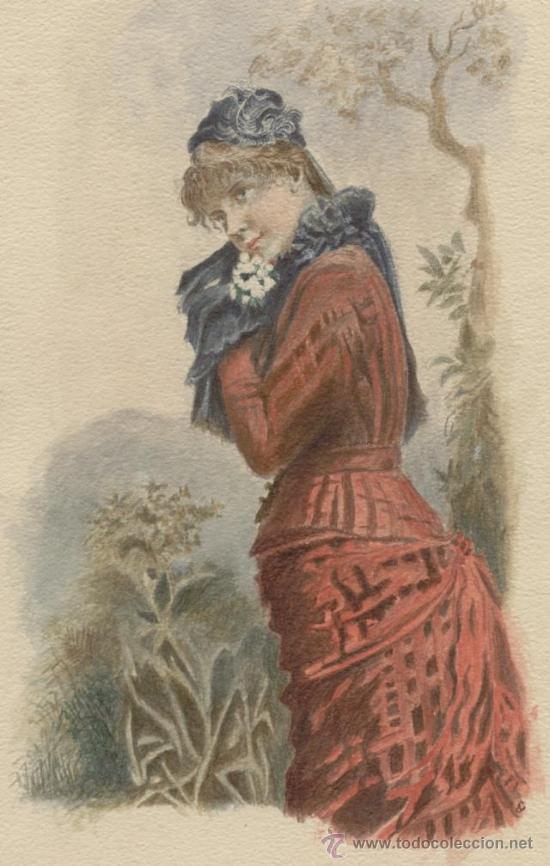 Arte: Antigua Preciosa Pintura a Acuarela y Plumilla siglo XIX ~ Gastos de Envío Incluidos - Foto 2 - 23714246