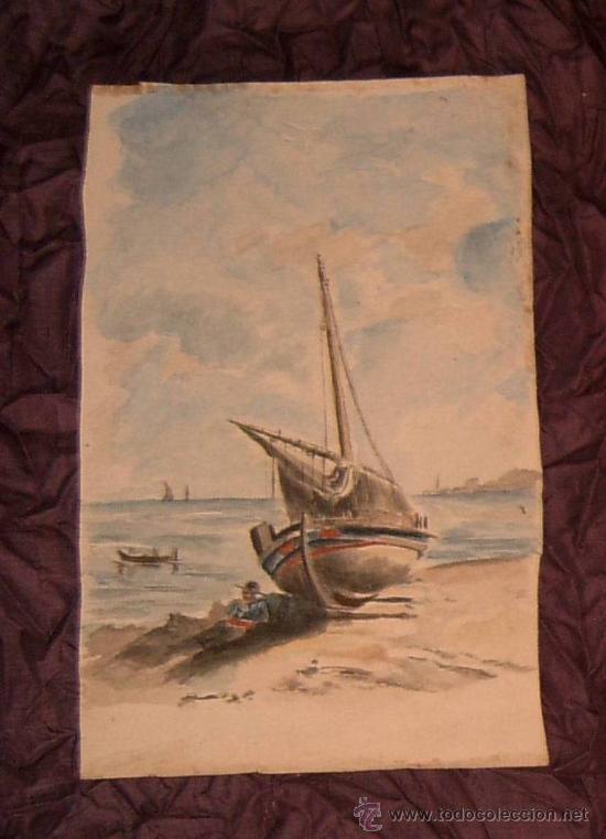ANTIGUA PINTURA A ACUARELA SIGLO XIX (Arte - Acuarelas - Modernas siglo XIX)