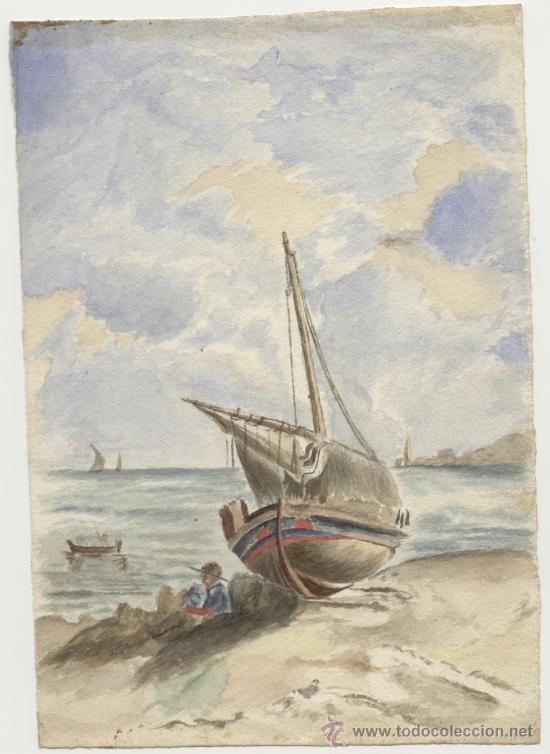 Arte: Antigua Pintura a Acuarela siglo XIX - Foto 2 - 26146781
