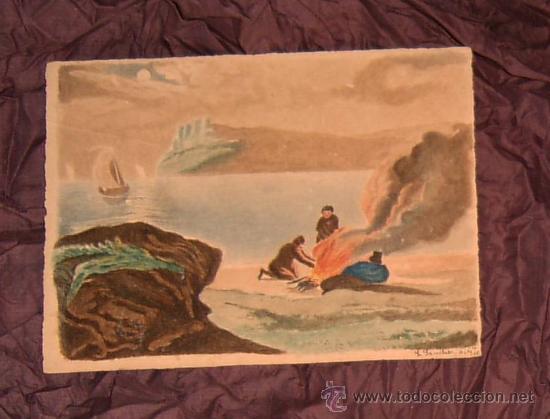 ANTIGUA PINTURA A ACUARELA Y A PLUMILLA SIGLO XIX (10 AGOSTO 1886)~FIRMADO~GASTOS ENVÍO INCLUÍDOS (Arte - Acuarelas - Modernas siglo XIX)