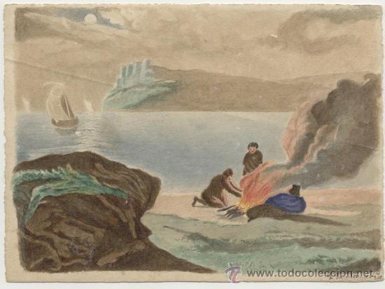 Arte: Antigua Pintura a Acuarela y a Plumilla Siglo XIX (10 Agosto 1886)~Firmado~Gastos Envío Incluídos - Foto 2 - 23623028