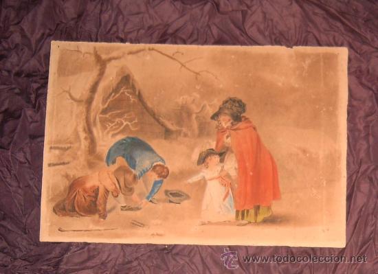 ANTIGUA PINTURA A ACUARELA Y PLUMILLA ~ SIGLO XIX ~ FIRMADO CON INICIALES L.S. (Arte - Acuarelas - Modernas siglo XIX)