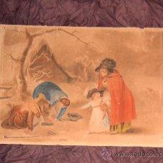 Arte: ANTIGUA PINTURA A ACUARELA Y PLUMILLA ~ SIGLO XIX ~ FIRMADO CON INICIALES L.S.. Lote 26250148