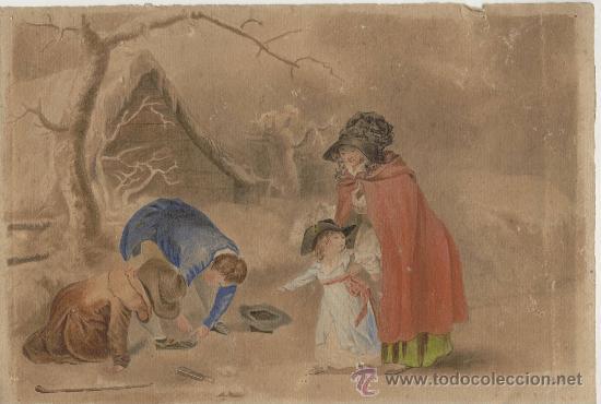 Arte: Antigua Pintura a Acuarela y Plumilla ~ Siglo XIX ~ Firmado con Iniciales L.S. - Foto 2 - 26250148