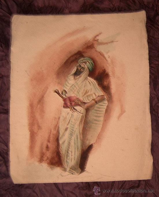 ANTIGUA PINTURA A ACUARELA Y PLUMILLA ~ SIGLO XIX (Arte - Acuarelas - Modernas siglo XIX)