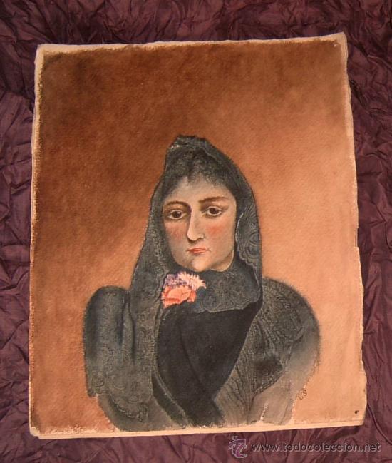 ANTIGUA PINTURA A ACUARELA Y PLUMILLA ~ SIGLO XIX ~ FIRMADO CON DOS INICIALES (Arte - Acuarelas - Modernas siglo XIX)