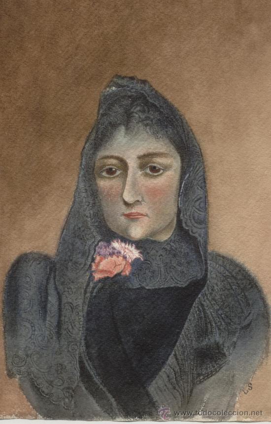 Arte: Antigua Pintura a Acuarela y Plumilla ~ Siglo XIX ~ Firmado con Dos Iniciales - Foto 2 - 25738823