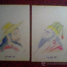 Arte: 1955 PAREJA DE ACUARELAS ORIGINALES DIBUJO A ACUARELA FIRMA FURIO. Lote 27503988