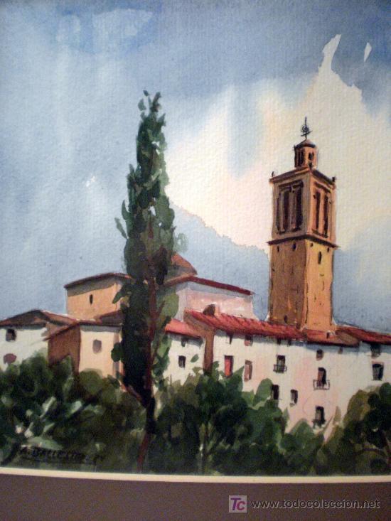 ACUARELA SOBRE PAPEL FIRMADA A. BALLESTER 8V (Arte - Acuarelas - Contemporáneas siglo XX)