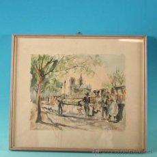 Arte: ACUARELA Y TINTA SOBRE PAPEL FIRMADO HERBELOT, HACIA 1950 - 1955. Lote 19681193