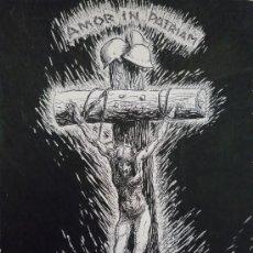 Arte: OBRA ORIGINAL CARTEL PROPAGANDA SEGUNDA GUERRA MUNDIAL TITULADO AMOR IN PATRIAM, TINTA SOBRE PAPEL. Lote 20531450