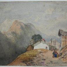 Arte: BELLA ACUARELA - PAISAJE ALPINO - FIRMADA POR K. SONGHURST - FECHADA EN 1878. Lote 26628646