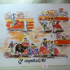 Arte: ACUARELA, JOSE IRANZO, ANZO, EL CAPITALISTA, TOROS, TORERO, MEDIDAS: 33X25 CM. . Lote 21515205