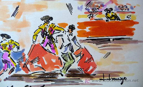 Arte: ACUARELA, JOSE IRANZO, ANZO, EL CAPITALISTA, TOROS, TORERO, MEDIDAS: 33X25 CM. - Foto 3 - 21515205