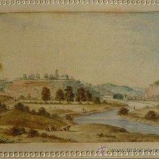 Arte: PRECIOSO PAISAJE DE PRINCIPIOS DEL SIGLO XIX CIRCA 1810, GRAN DETALLE, VACAS PASTANDO JUNTO A UN RIO. Lote 22206043