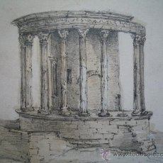 Arte: ESPECTACULAR TEMPLO ROMANO, SIGLO XIX, POSIBLEMENTE ESCUELA FRANCESA, FIRMADO A.C.M. GRAN CALIDAD. Lote 23286574