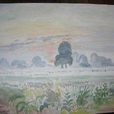 Arte: BELLA ACUARELA - PAISAJE INGLES - AMANECER - FIRMADA POR TRIEBENSEE Y DATADA. Lote 26734665