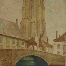 Arte: ACUARELA. PAISAJE URBANO. M. WATTS 1928. INGLATERRA.. Lote 24097099