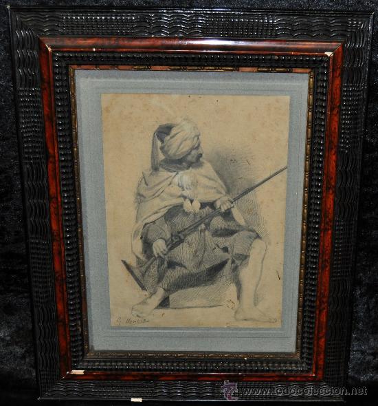 ANTONIO GARCÍA MENCÍA (MADRID, 1852 - 1915) DIBUJO A LAPIZ FIRMADO. PERSONAJE ORIENTALISTA (Arte - Acuarelas - Contemporáneas siglo XX)